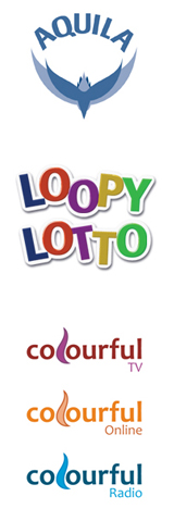 brand identities for Aquila, Loopy Lotto and colourful media group