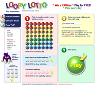 LoopyLotto website main page design